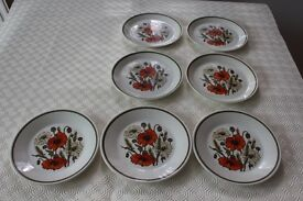 Retro J&G Meakin Studio Pottery Poppy Design - 7 side plates - 7inch diameter