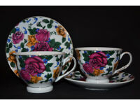 VINTEGE SET OF 2 CUPS AND 2 SAUCERS, TEA CUPS, COFFEE CUP, PORCELAIN