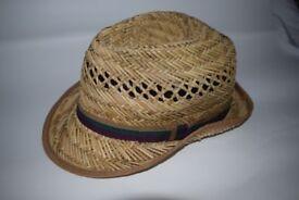 Men's straw trilby hat small size