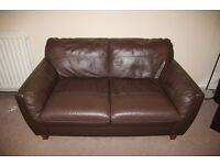 Brown Leather 2 Seater Sofa + Armchair