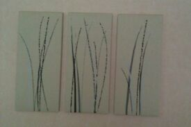 3 set canvas prints. Modern contemporary design. In excellent condition