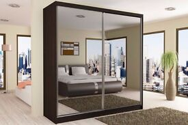 BEST ONE SLIDING 2 DOOR WARDROBE AVAILABLE IN DIFFERENT WIDTH IN WHITE BLACK AND WALNUT COLOUR