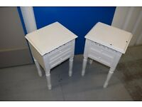 Pair of Louis French Antique Style White Bedside tables - shabby chic