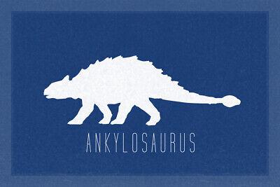 Dinosaur Ankylosaurus Thyreophoran Silhouette Cretaceous Blue Poster - 18x12 - Dinosaur Posters