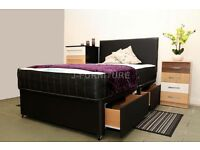 NEW STOCK! BLACK DIVAN BED BASE! MATTRESS,STORAGE,DRAWERS,HEADBOARD OPTIONAL.ALL SIZES.SUPER DEALS