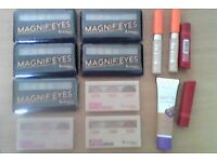 Selection of Rimmel makeup eye shadows, concealer, lipsticks and a foundation all new.