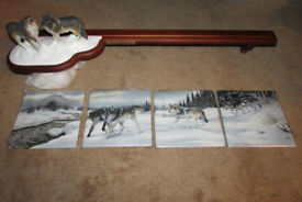 Collectible Panoramic Wolf ornament (3d Figures & 4 Plates) for wall (Ad removed when sold)
