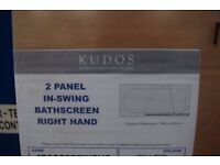 KUDOS INSPIRE 6MM DESIGNER 2 PANEL IN-SWING BATH SCREEN RIGHT HAND RRP £354 ... Bargain