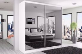ITALIAN MANUFACTURED 250CM FULLY MIRRORED 2 SLIDING DOORS BERLIN WARDROBE **SAME DAY DELIVERY**