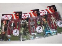 """3x Star Wars Ep7 3.75"""" figures HAN SOLO / HASSK THUG / REY (RESISTANCE OUTFIT) The Force Awakens NEW"""