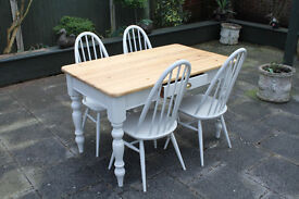shabby chic table and four chairs