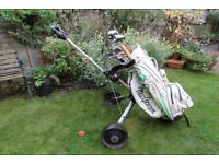 Complete set of golf clubs, with bag and trolley