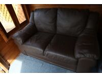 Leather sofa, two seater, brown. FREE