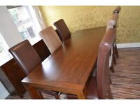 Real wood walnut dining table, excellent condition