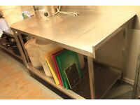 Large COmmercial Stainless Steel Corner Table