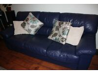 3 seater blue leather sofa settee