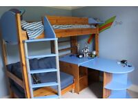 STOMPA High Sleeper single bed with futon, desk, storage and shelves