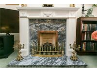 Fire place with marble and wooden frame