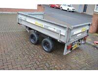 Trailer - NO VAT Indespension Challenger - Braked Trailer 2 Tonne, 8 x 5 - Metal Dropsides