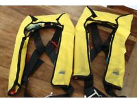 Two adult XM life jackets with harness