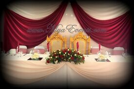 Reception Starlight Backdrop Hire £199 Crystal Centrepiece Hire Wedding Table Decor £4 Napkin Rental