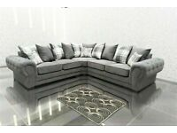 DOORBUSTER DEALS ON VERONA CHESTERFIELD GREY PLUSH FABRIC 3+2 SOFA SUITE AND CORNER UNIT ON SALE!!