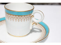 Antique Royal Worcester Cup and Saucer Gilded Victorian Turquoise 142 Vintage