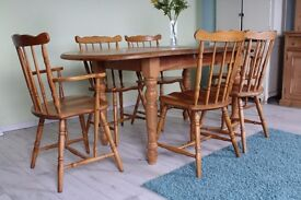 SOLID PINE EXTEND COTTAGE STYLE TABLE & 6 CHAIRS INCL 2 CARVERS - CAN COURIER