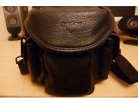 ANTLER LEATHER BLACK CAMERA BAG WITH SHOULDER STRAP in Excellent condition !!