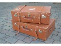 Vintage Leather Suitcases Excellent Condition Trunk Case Luggage, Leather Straps & Corners