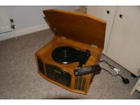 Retro HiFi. Digital radio, ecord deck CD player and Cassette player