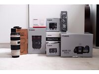 Canon 5D Mark IV full set (24-70 f/2.8, 70-200 f/4, 28 f/2.8 IS, Sigma 85 /1.4 art)