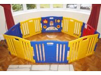 Baby Play Pen Very Large Size with 8 Plastic Planels inc. Lockable Door