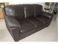 Brown leather sofas (3 seater and 2 seater) in good condition from non smoking and pet free house