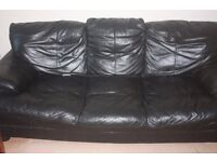 Large Comfortable Black Leather 3 Seater Sofa