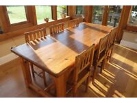 Solid Pine Dining Table & 6 Chairs