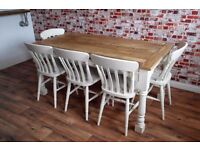 Two to 12 Seater Rustic Farmhouse Extending Dining Table Set - Farrow and Ball