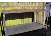 Large solid ex Industrial worktable with restored wood top