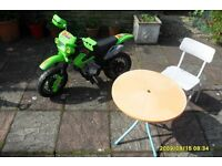 free lovely childs battery operated motor bike (no charger) and childs table and chair