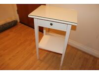 Ikea Hemnes White Bedside Table with GLASS COVER