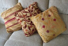 CUSHIONS x 3 IN RED & GOLD AS NEW