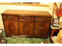 Dark Wooden Sideboard. 3 doors and 3 drawers