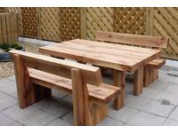Oak table and bench railway sleeper bench set garden set summer furniture set Loughview JoineryLTD