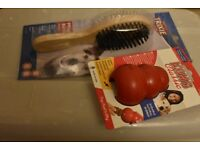 kong medium red dog toy and dog brush both new in packaging
