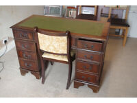 Chesterfield Reproduction Regency Style Pedestal Writing Desk