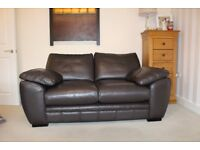 Italian Leather Sofas in Fine Grain Brown Leather - DFS 'Raven' Immaculate
