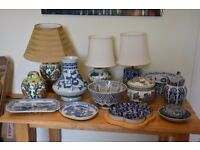 CHINESE LAMPS, GINGER JARS AND VARIOUS BLUE AND WHITE PORCELAIN ITEMS