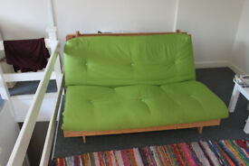 ARGOS Sofa Bed in green apple colour + FREE Nest of 2 ARGOS white tables (optional)