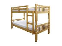 Sturdy Chunky Frame, Solid Frame, Brazilian pine, bunk bed, x 2 Ortho, Single, Sprung, mattress,