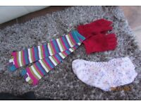 Brand new striped socks with fingers, hand knitted bed socks & pair of fleece gloves £2.75, Torquay